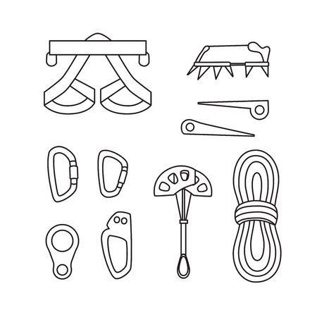 Special equipment for sports in the mountains, climbing, hiking. Line design.