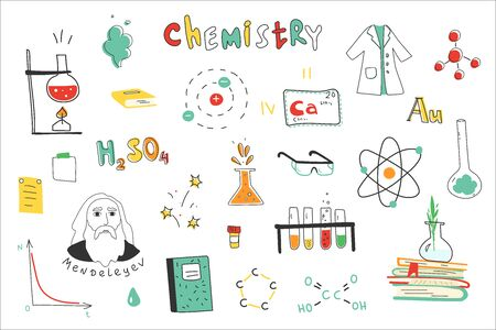 Chemistry. A collection of hand-drawn chemistry images. Chemistry lessons at school. Equipment, formulas, circuits. Modern vector illustration. Flat design. 스톡 콘텐츠 - 148514940
