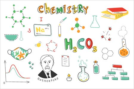 Chemistry. A collection of hand-drawn chemistry images. Chemistry lessons at school. Equipment, formulas, circuits. Modern vector illustration. Flat design.  Vettoriali
