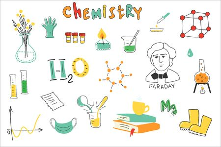 Chemistry. A collection of hand-drawn chemistry images. Chemistry lessons at school. Equipment, formulas, circuits. Modern vector illustration. Flat design.  일러스트