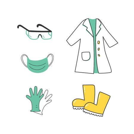 A set of protective clothing for medical workers, for laboratories, experiments, research.