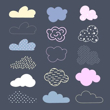 Set of decorative clouds. They are painted with spots, stripes, strokes, peas, dots
