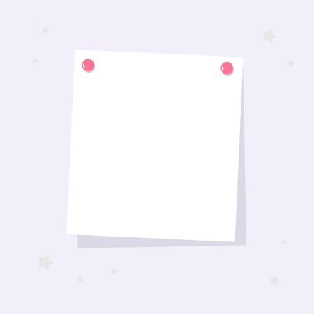 A square sheet is attached to the wall. A place for notes, reminders.