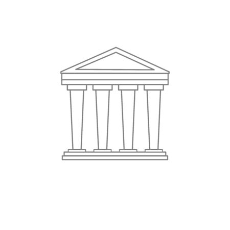 A historic building with columns. A classic style building. Linear style. Logo, sign, trademark.