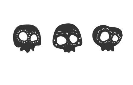Painted black skulls. Stock vector illustration