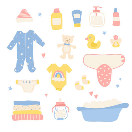 Bathing and sleeping items for the newborn. Toys, clothes, children's cosmetics 일러스트