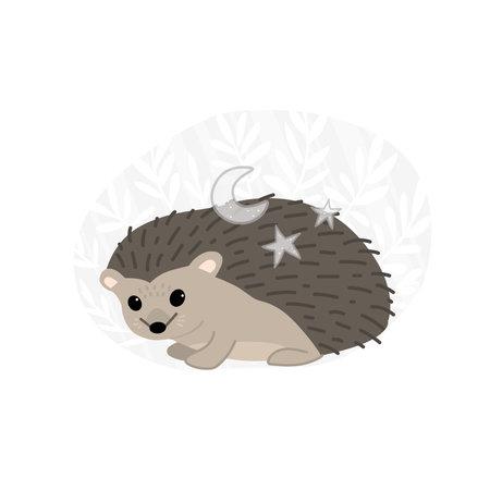 The magic hedgehog. Floral monochrome background. Vecton illustration 일러스트