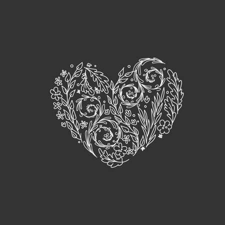 Heart with plants and flowers inside. linear style. Monochrome 일러스트