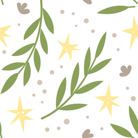 Magic seamless pattern with plants and stars. Creative print for the design of children's goods and products. Vector illustration 일러스트