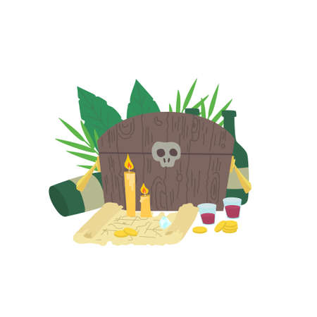 A composition of pirate things. A chest, gold, coins, a treasure map, bottles with rum, wineglasses with alcohol and candles. Large leaves of tropical plants are in the background. 일러스트