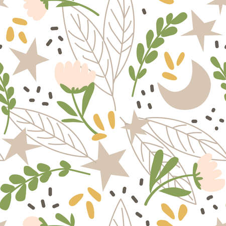 2Magic seamless pattern with plants, flowers, moon and stars. Creative print for the design of children's goods and products. Vector illustration
