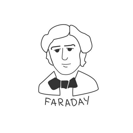 Linear portrait of the scientist Faraday. 일러스트
