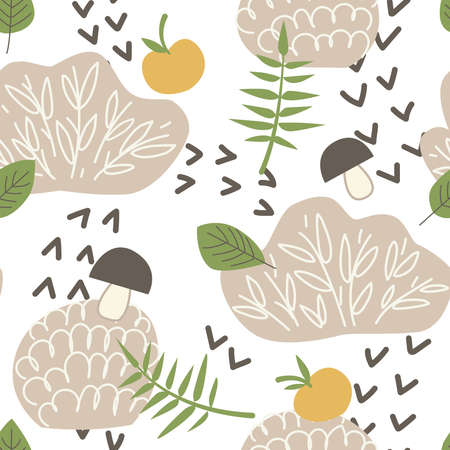 Seamless childish pattern with bushes, apples, mushrooms. Forest print for design of baby products. Vector illustration