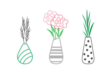 Vases with bouquets. Linear minimalistic vector illustration. 일러스트