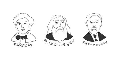 A set of portals of scientists of past centuries in the field of chemistry 일러스트