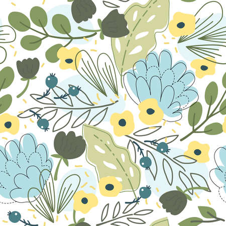 Seamless pattern with flowers and leaves. Trend print. Modern floral ornament. Vector illustration