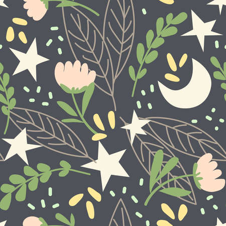 Magic seamless pattern with plants, flowers, moon and stars. Creative print for the design of children's goods and products. Vector illustration