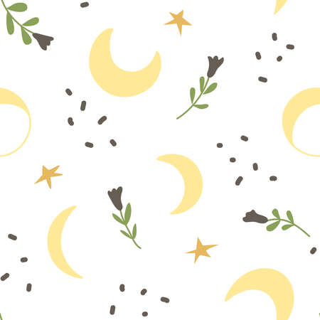 Magic seamless pattern with moon, stars and flowers. Creative print for the design of children's goods and products. Vector illustration