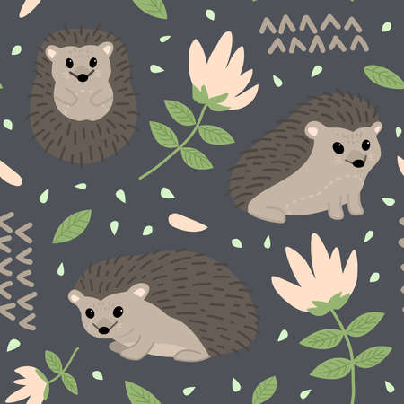 Seamless childish pattern with cute hedgehogs and nature elements. Creative print for the design of children's goods and products. Vector illustration
