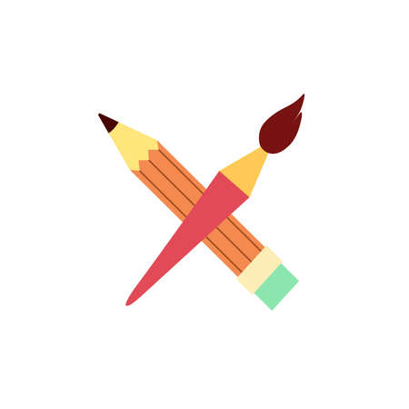 Crossed art tools. Logo for schools, studios, companies. 일러스트