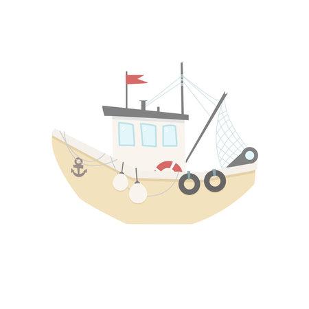 Fishing boat flat vector illustration