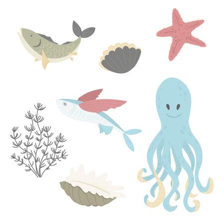 Set of marine elements - octopus, fish, shell, seaweed, starfish. Flat vector cartoon illustration 일러스트