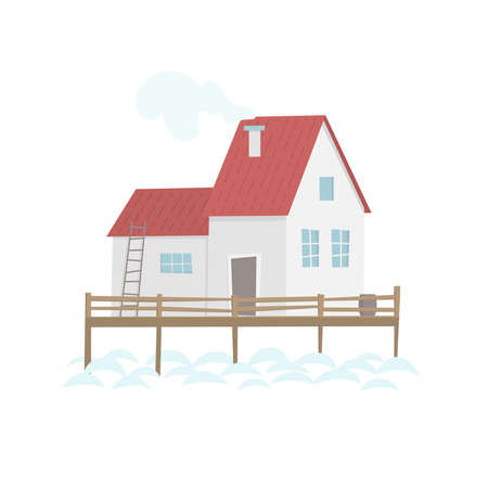 House on the water. Rustic fishing scandinavian house. Flat vector cartoon illustration 일러스트