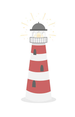 Lighthouse tower for navigation of ships 일러스트