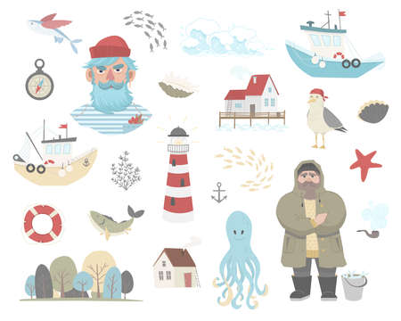 Set of marine elements - sailor, ship, lighthouse, octopus, fish, forest, seagull, house, wave, anchor, compach, lifebuoy, shell, seaweed, starfish. Marine and coastal life. Flat vector illustration
