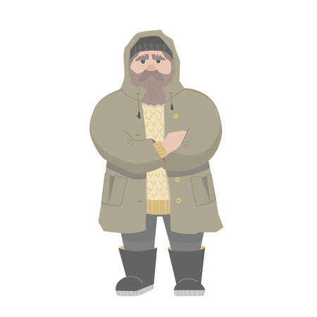 A man is in warm clothes. Flat vector cartoon illustration