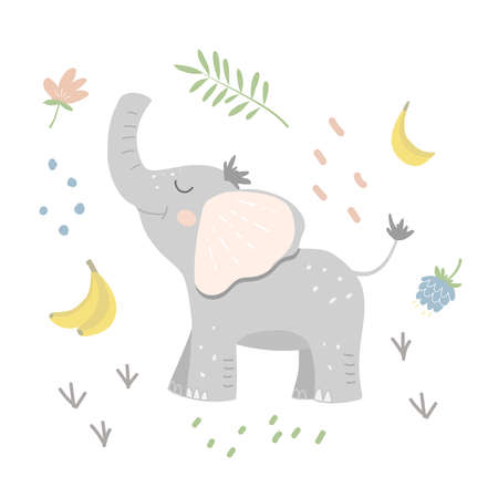 Smiling baby elephant with jungle objects. Flat vector illustration
