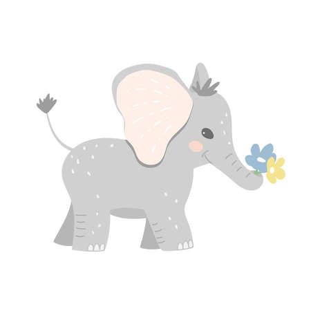 The baby elephant carries flowers in its trunk. Flowers for congratulating a friend, relative. Cartoon vector illustration.