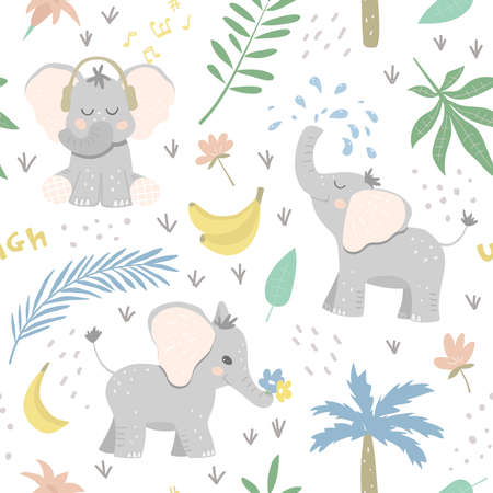Seamless baby patter with elephants in the jungle. Happy animals among leaves, bananas and flowers. Great for baby product design