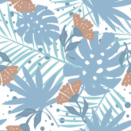 Seamless pattern with tropical leaves and flowers. Creative vector texture. Great for fabric, textile, scrubbing, wallpaper and wrapping 일러스트