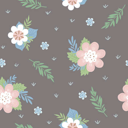 Seamless floral pattern on a dark background. Good for textiles, fabrics, wallpaper 일러스트
