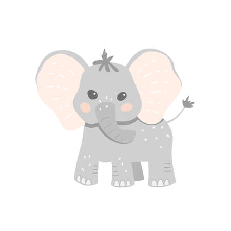 Cute baby elephant in cartoon style. Childish vector illustration for baby product design 일러스트