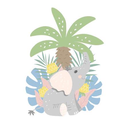 Little elephant sits among jungle plants. Flat design, vector illustration 일러스트
