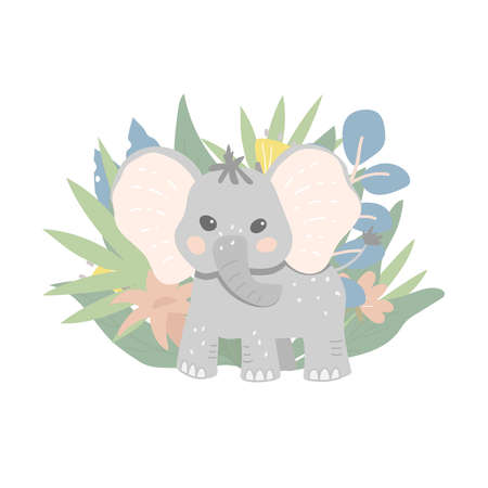 Cute cartoon baby elephant on a background of tropical plants and leaves. Baby elephant in the jungle. Flat vector illustration