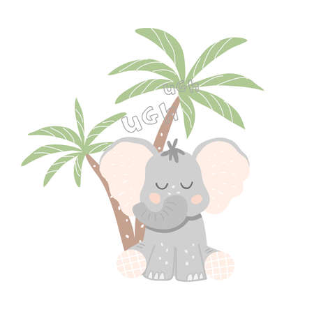 Little elephant sits under a palm tree. Vector illustration in cartoon style
