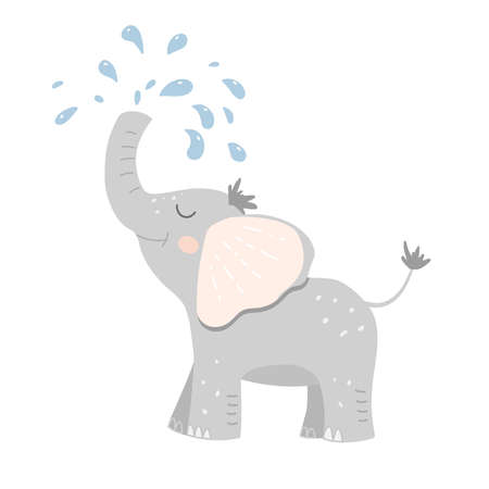 Cute baby elephant poured water from its trunk. Kids vector illustration. Great for kids t-shirt, wall print, poster, postcard. 일러스트