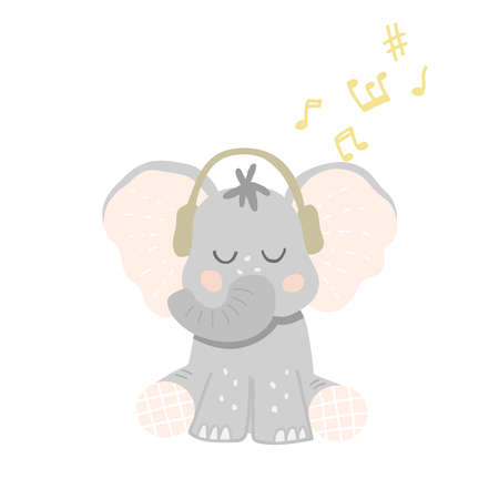 Cute baby elephant in headphones listens to music. Little music lover. Vector illustration in cartoon style 일러스트