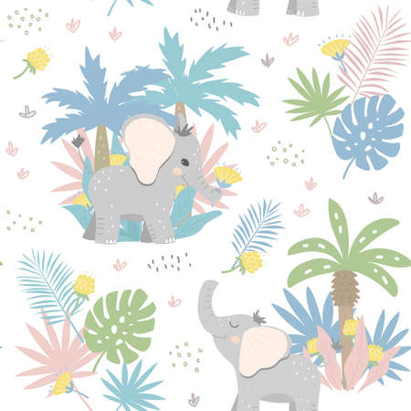 Seamless jungle patter with baby elephants. Cute baby texture for wrapping paper, scrubbing, textiles.