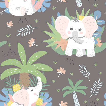 Seamless childish patter with baby elephants in the jungle. Dark background. Good for textiles, fabrics, wallpaper. Flat design, vector illustration