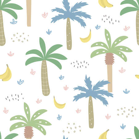 Seamless pattern with tropical palms. Childish cartoon texture. Great for baby product design