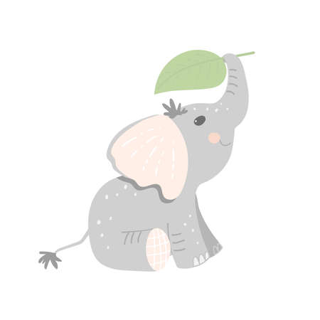 Cute cartoon baby elephant holds a leaf with its trunk above its head. Flat vector illustration