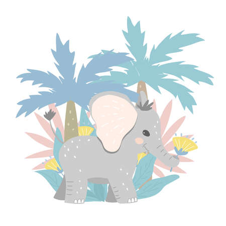 The baby elephant carries flowers in its trunk. The elephant is surrounded by jungle plants. Flat design, vector illustration