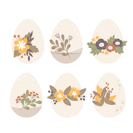 Easter eggs decorated with flowers, leaves and berries. Happy Easter. Flat design, vector illustration