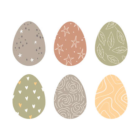 Colored Easter eggs with pattern. Happy Easter. Spring holiday. Vector Illustration.
