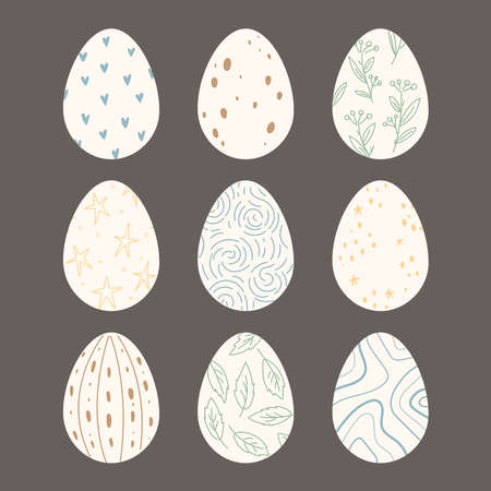 Set of Easter eggs with linear abstract and floral pattern. Dark background. Happy Easter. Vector Illustration.