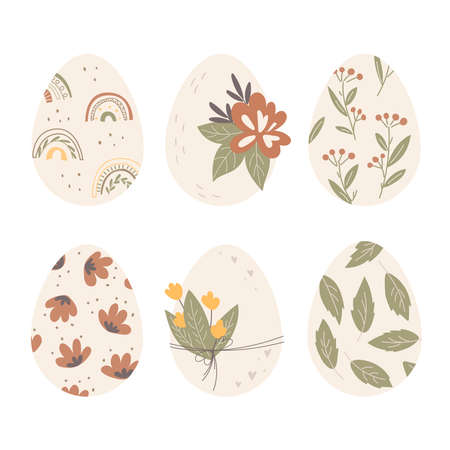 Set of decorated Easter eggs. Spring print decor and flowers. Flat design, vector illustration